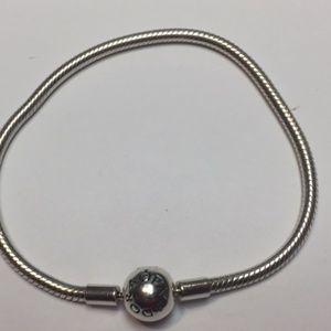 Pandora Smooth Silver Clasp Bracelet/Size 7.5